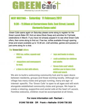 Green Cafe Article-Flyer with text for windows etc.